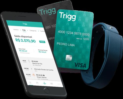 Cartão, pulseira e aplicativo da Trigg