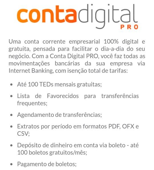 Conta digital pro do banco inter - conta corrente