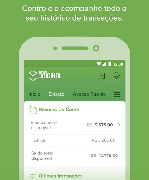 Conta do Banco Original pelo celular