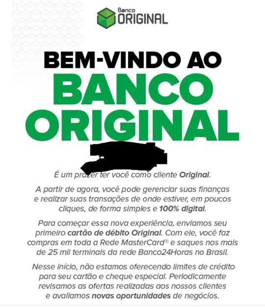 E-mail de cadastro aprovado, bem vindo ao Banco Original