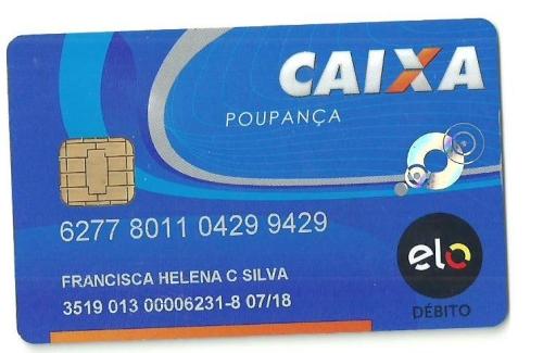 cartão de débito caixa poupança