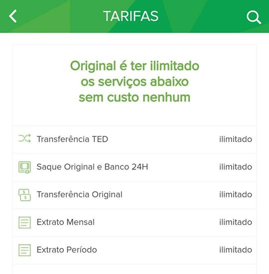 tarifas e taxas do banco original