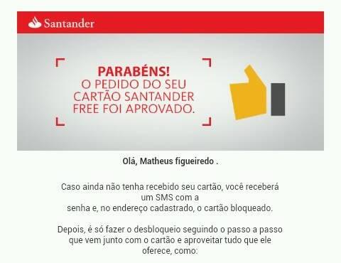 E-Mail de aprovação do cartão Santander Free