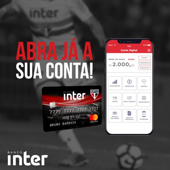 cartão de crédito do banco inter com logo do São Paulo Futebol Clube