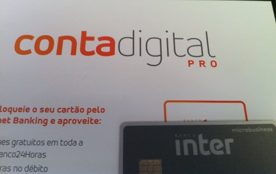 carta e cartão da conta digital pro do banco inter