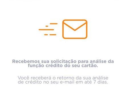 solicitação para análise da função crédito do seu cartão