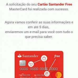 E-mail de solicitação do cartão Santander Free