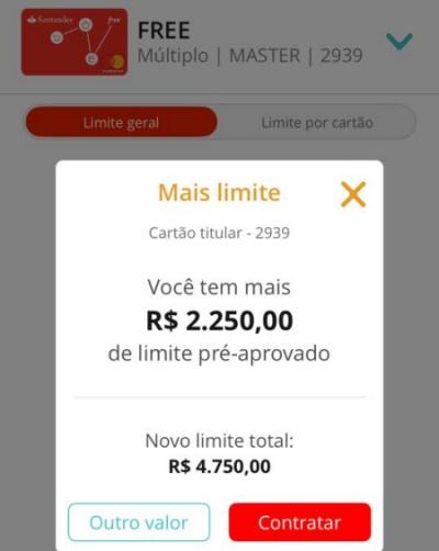 Meu limite no cartão Santander Free