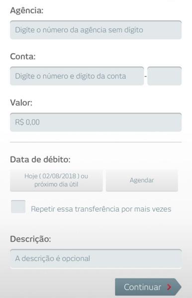transferência entre contas do Bradesco no app